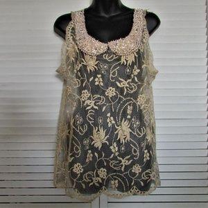 Moulinette Soeurs Anthropologie lace blouse medium